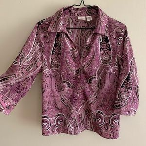Covington Paisley 60s Pattern Button-down Blouse